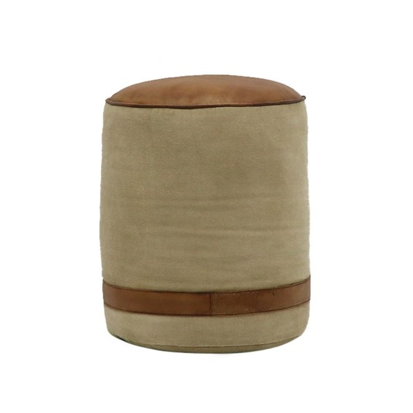 Chandri Canvas & Leather Pouf