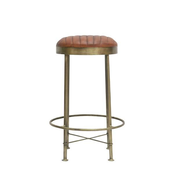 Chandri Brass Finish & Leather Barstool - 65cm