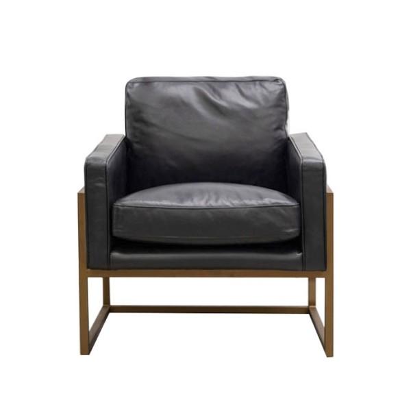 Davie Armchair - Black Leather