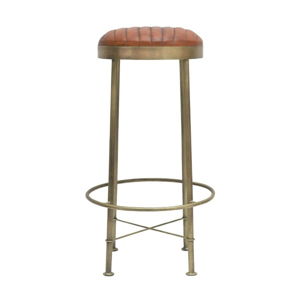 Chandri Brass Finish & Leather Barstool 75cm