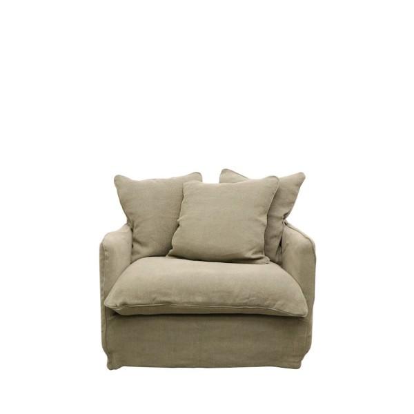Lotus Slipcover Armchair - Khaki Linen