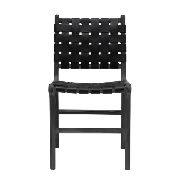 Hayes Leather Dining Chair - Black Frame,  Black Leather