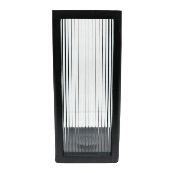 Tate Large Reeded Glass Hurricane Lamp - Black