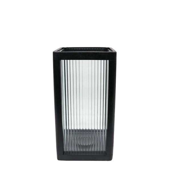 Tate Small Reeded Glass Hurricane Lamp - Black