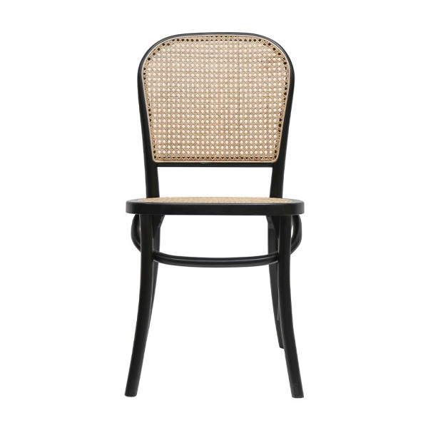 Bentwood Rattan Dining Chair - Black