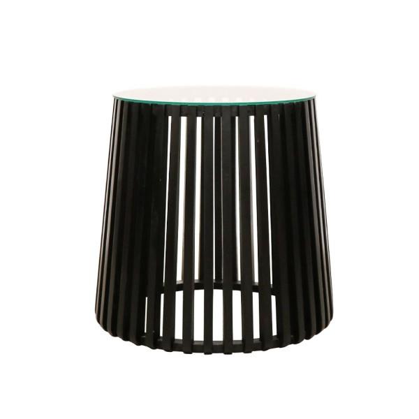 Crusoe Slatted Side Table - Black