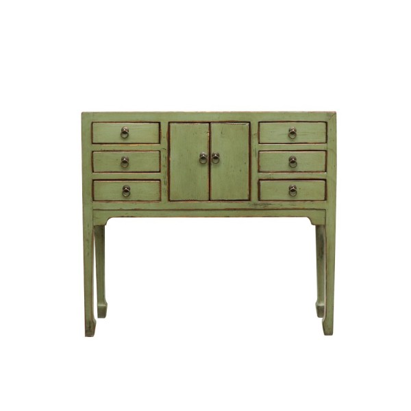 Oriental Painted Console - Petite, Vintage Green