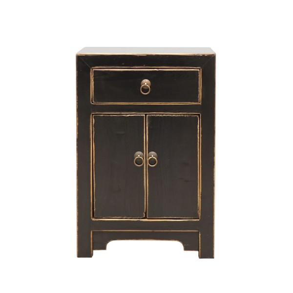 Oriental Painted Bedside - Vintage Black