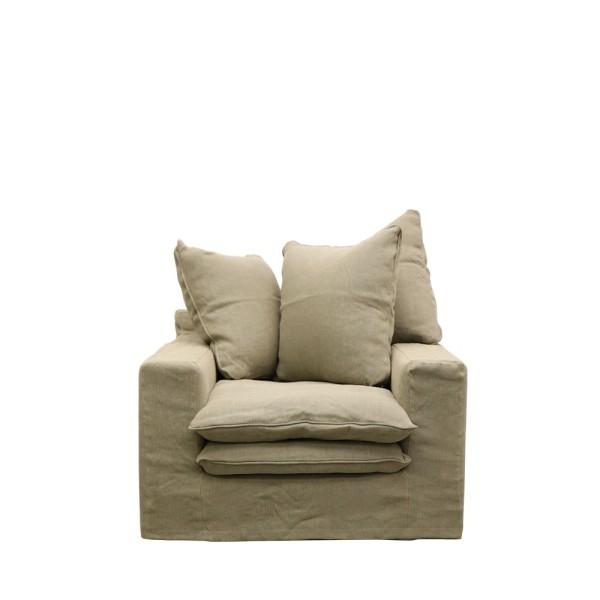 Keely Slipcover Armchair - Khaki Linen