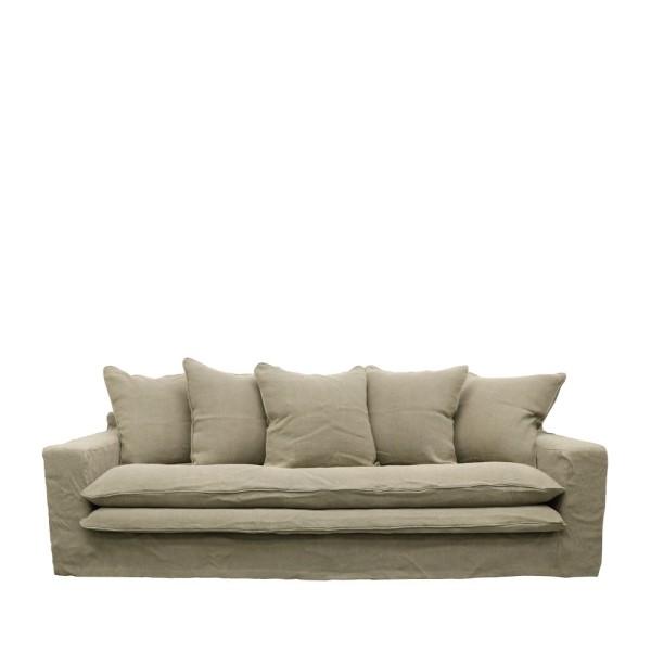 Keely Slipcover Sofa 3 Seater - Khaki Linen