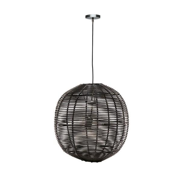 Black Rattan Globe Pendant - Large